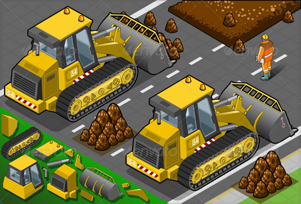 GraphicRiver Isometric Yellow Bulldozer in Rear View 4426115