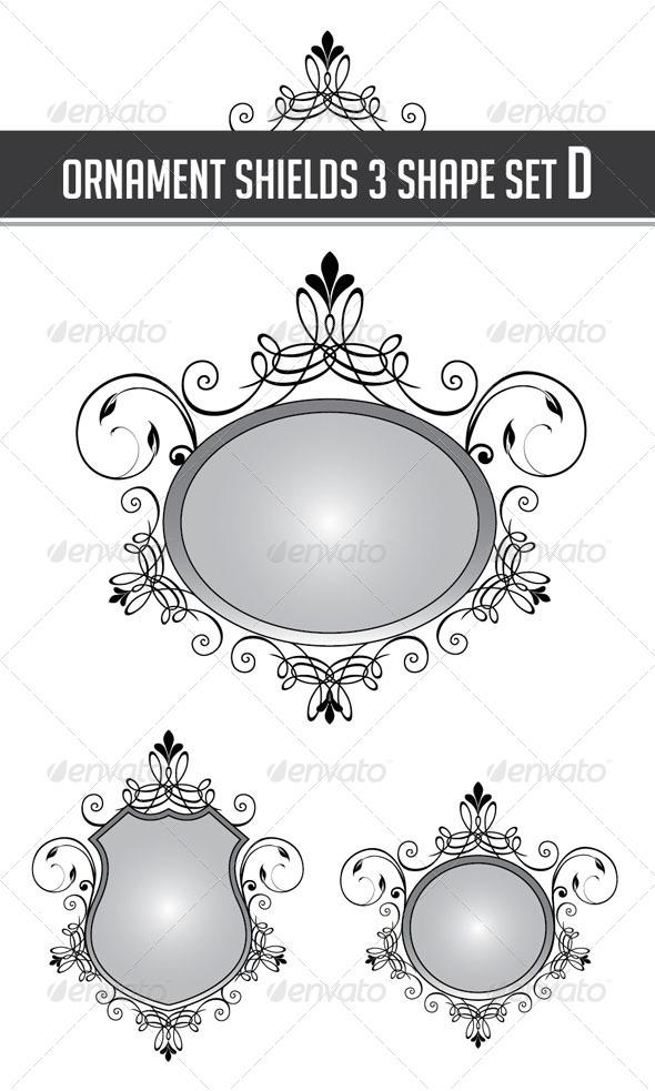 GraphicRiver Ornament Shields 3 Shape Set D 4426118