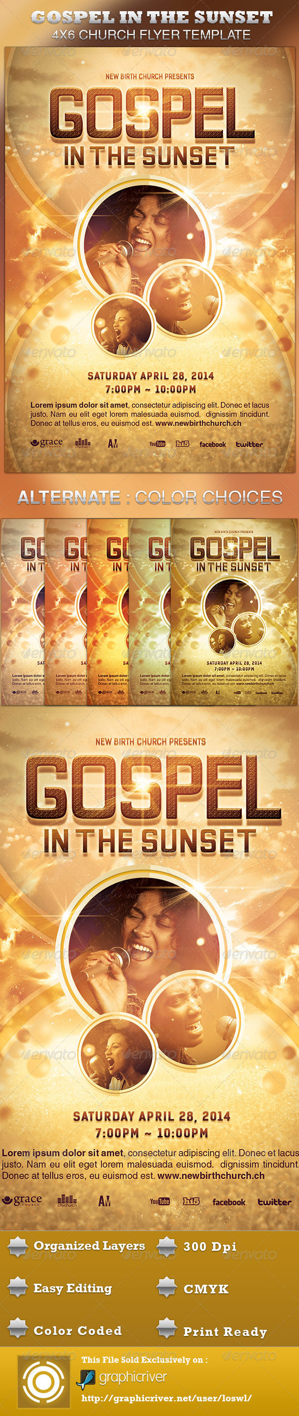 print templates gospel in the sunset church flyer template graphicriver. Black Bedroom Furniture Sets. Home Design Ideas