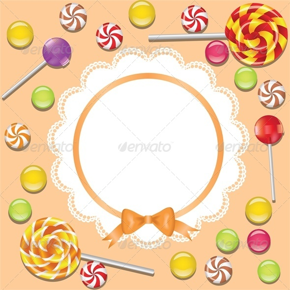GraphicRiver Background Candies Frame with Napkin and Ribbon 4426583