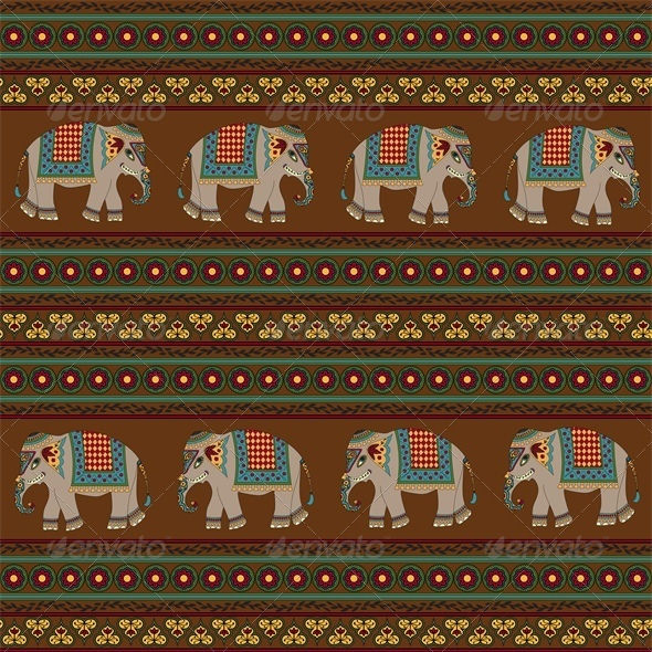 GraphicRiver Seamless Indian Pattern with Elephant 4426643