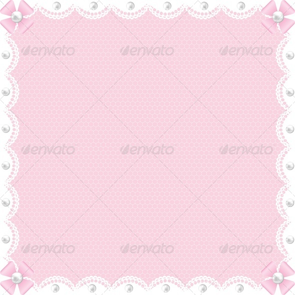 GraphicRiver Wedding Card with White Lace and Pearls on Pink 4426700