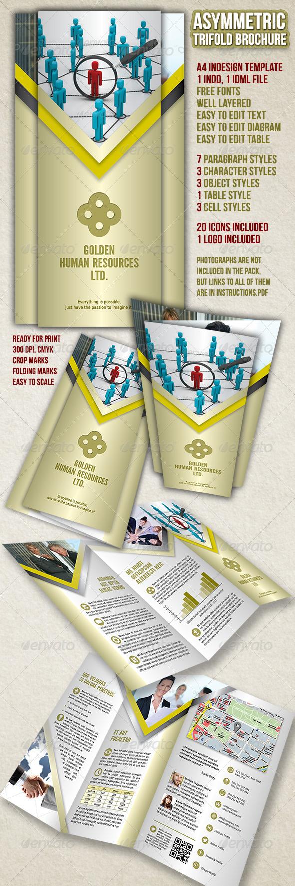 GraphicRiver Asymmetric Trifold Brochure A4 4426703