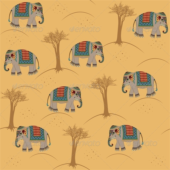 GraphicRiver Seamless Indian Pattern with Elephant 4426803