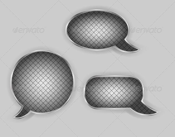 GraphicRiver Metal Speech Bubbles Vector Illustration 4427101