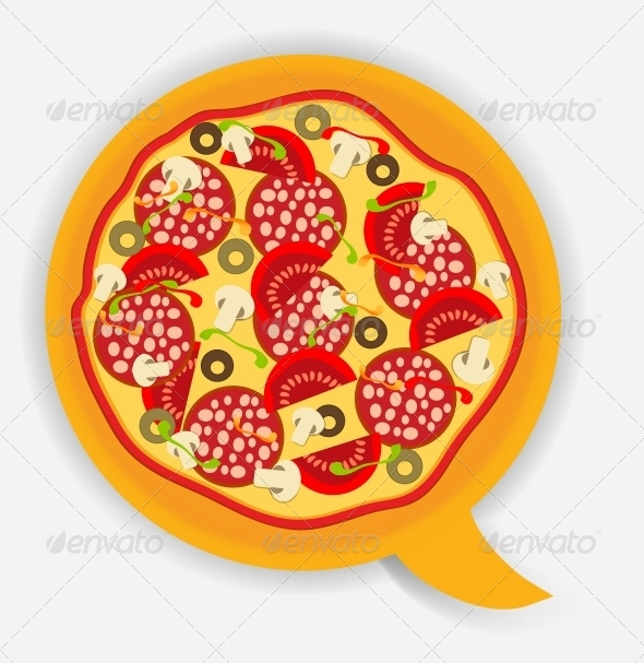 GraphicRiver Pizza Speech Bubble Vector Illustration 4427395