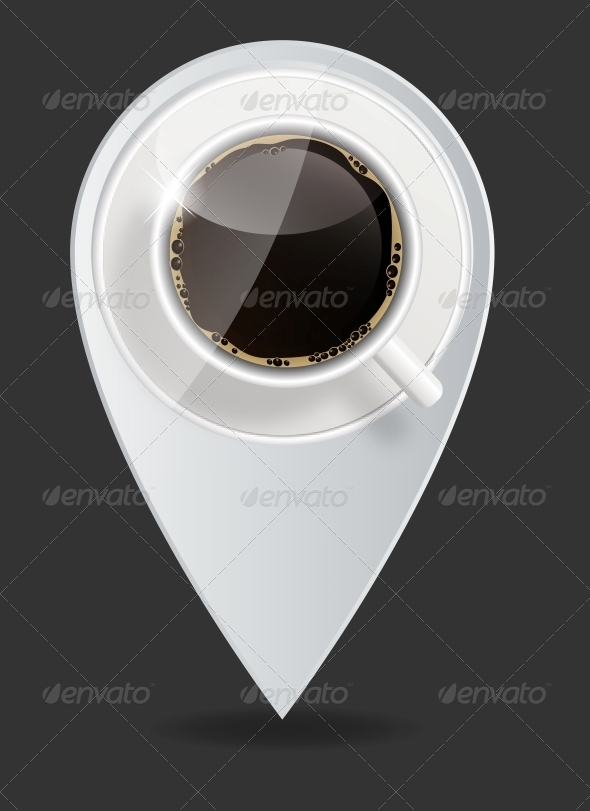 GraphicRiver Coffee Map Pointer Vector Illustration 4427406
