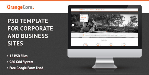 ThemeForest OrangeCore PSD Template for Business Sites 4427854