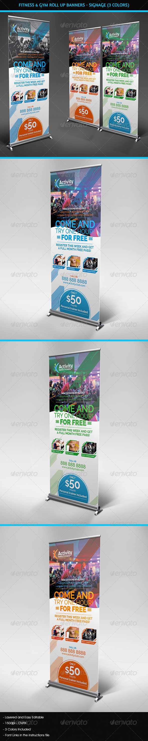 GraphicRiver Fitness & Gym Roll Up Banners Signage 4428050