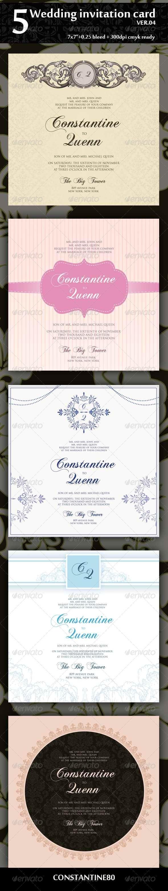 GraphicRiver 5 Wedding Invitation 7x7 Ver.04 4318481
