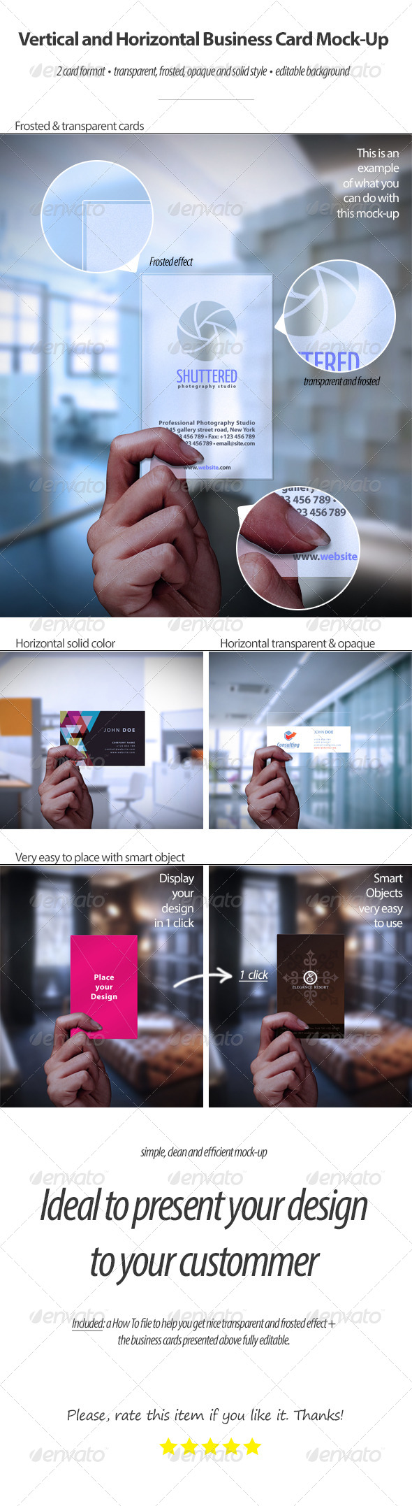 GraphicRiver Vertical and Horizontal Business Card Mock-Up 4429497