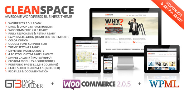 CleanSpace Retina Ready Business WP Theme - ThemeForest Item for Sale