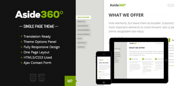 ThemeForest Aside 360Ўг Responsive single page portfolio 4426535