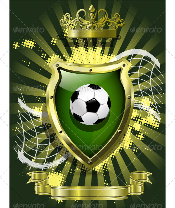 GraphicRiver Soccer Ball on Background of the Shield 4429741