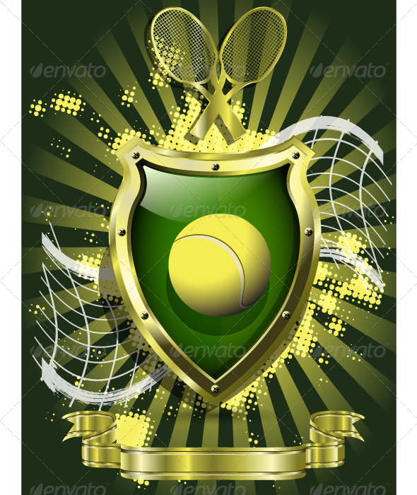 GraphicRiver Tennis Ball on Background of the Shield 4429903