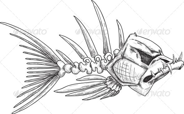 GraphicRiver Sketch of Evil Skeleton Fish with Sharp Teeth 4431669