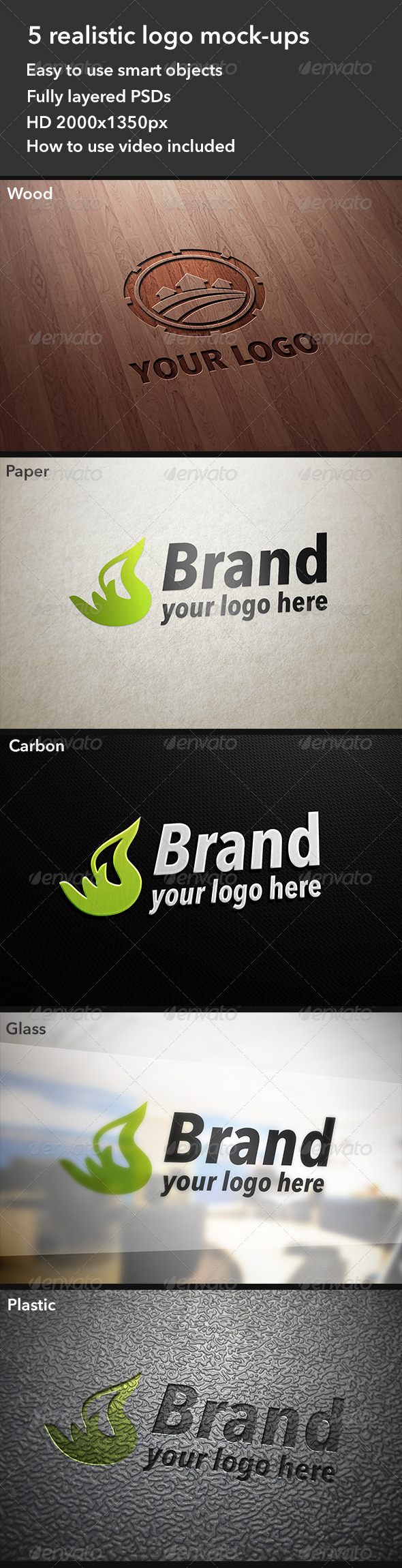 GraphicRiver 5 Realistic Logo Mockups 4431670