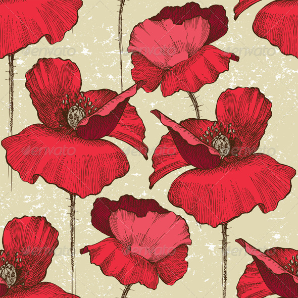 GraphicRiver Seamless Poppy Ornament 4431930