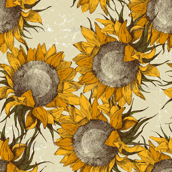 GraphicRiver Seamless Ornament with Sunflowers 4431963