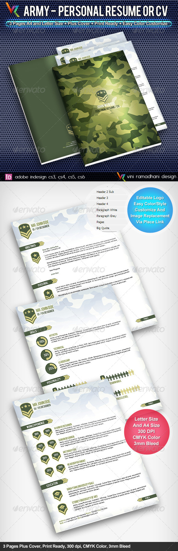 GraphicRiver Army Personal Resume Or CV 4139869