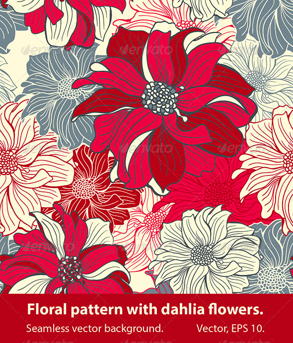 GraphicRiver Floral Pattern with Dahlia Flowers 4433446