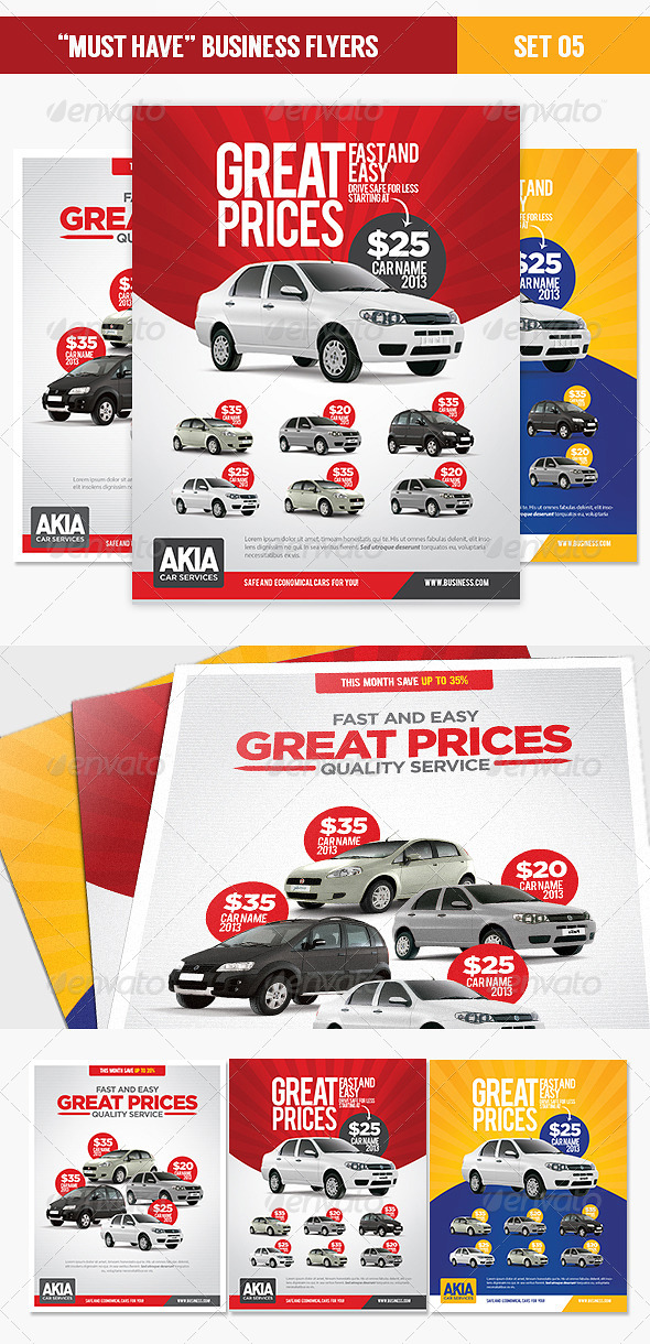 """Must Have"" Business Flyers - Set 05 Car Services - Corporate Flyers"