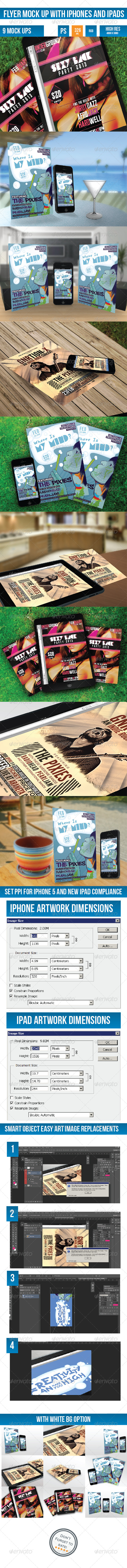 GraphicRiver Flyer Mock-up with iPhones and iPads Previews 4392622