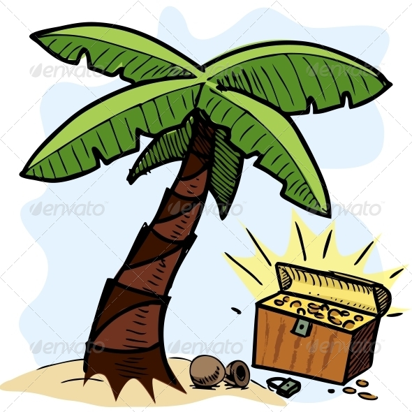 GraphicRiver Palm Tree and Pirate Chest on the Seashore 4434916