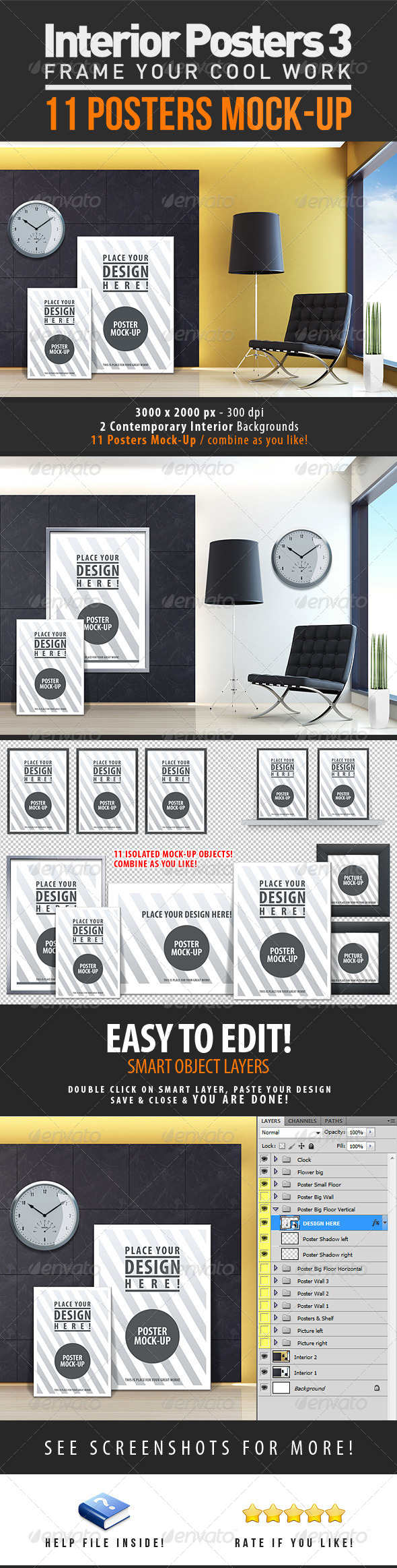 GraphicRiver Interior Posters Mock-Up Vol 3 4435032