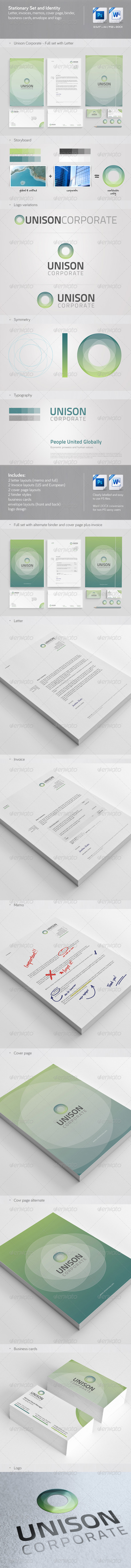 Unison: Corporate Stationary, Invoice and Identity - Stationery Print Templates