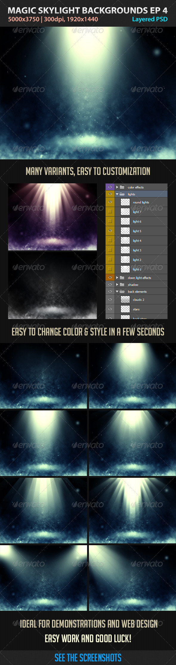 GraphicRiver Magic Skylight Backgrounds EP 4 4435687