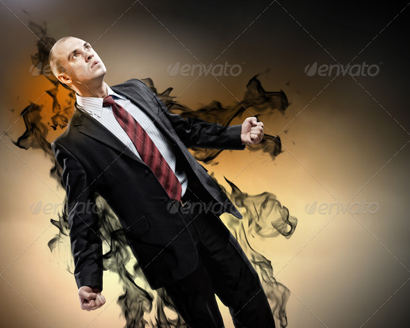 Businessman in anger - Stock Photo - Images