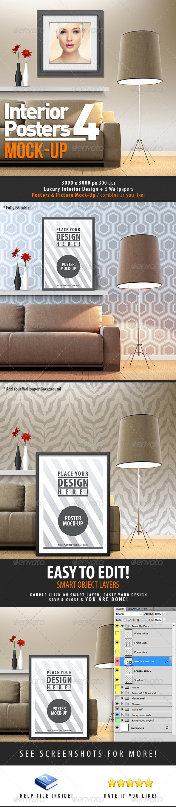 GraphicRiver Interior Posters Mock-Up Vol 4 4435791