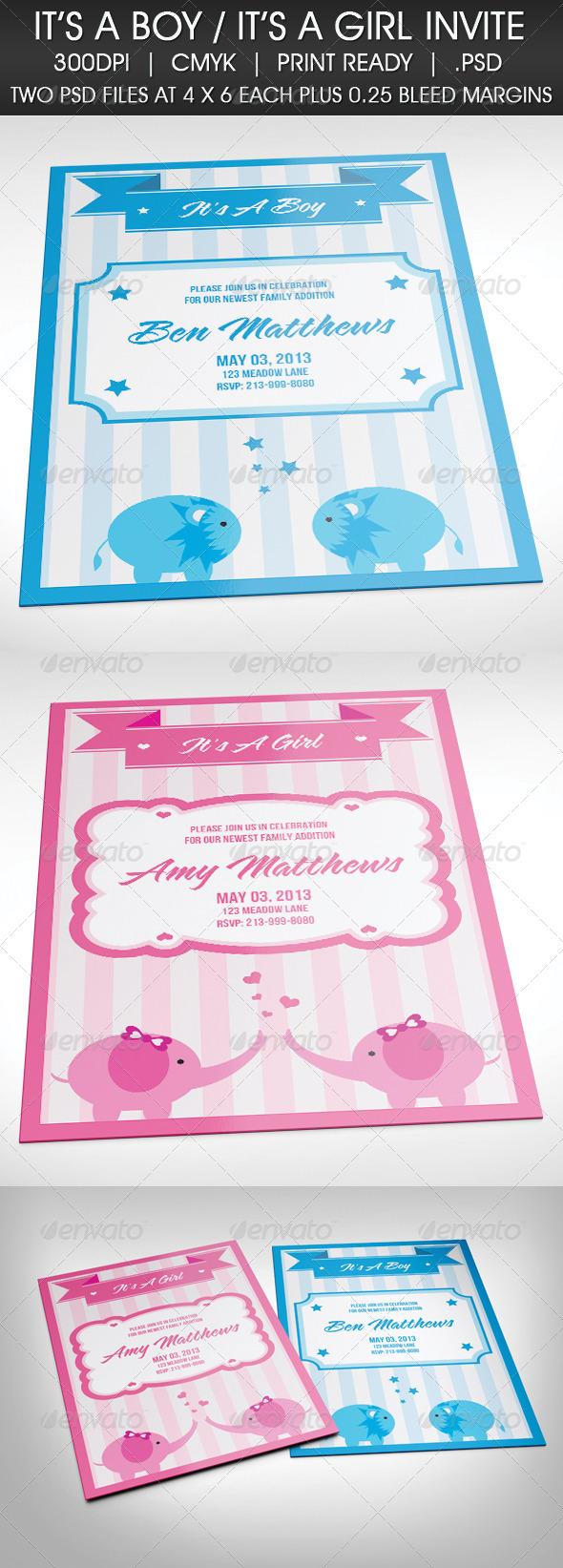 GraphicRiver It s A Boy It s A Girl Baby Celebration Invite 4169359