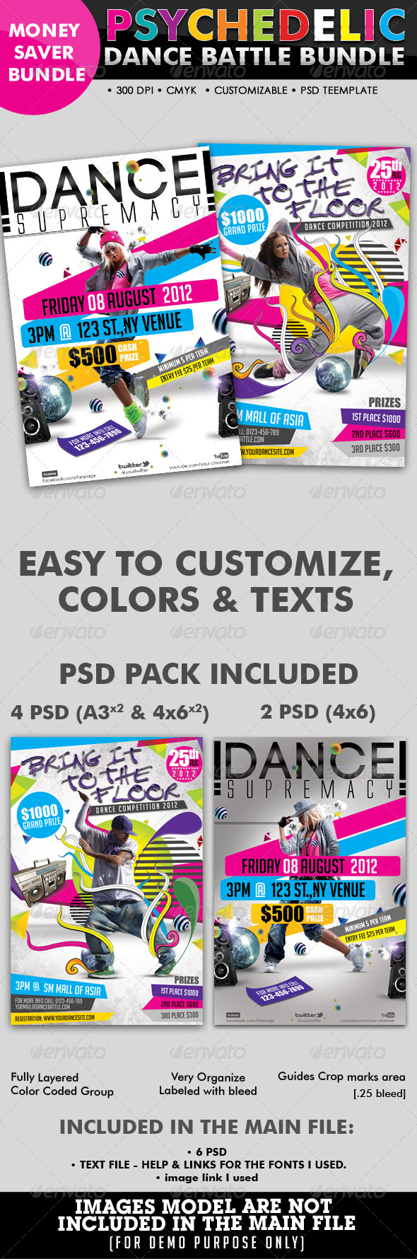 Psychedelic Dance Battle Flyer Bundle #07 - Clubs & Parties Events