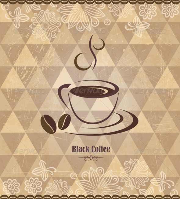 GraphicRiver Black Coffee Vintage Pattern 4436355