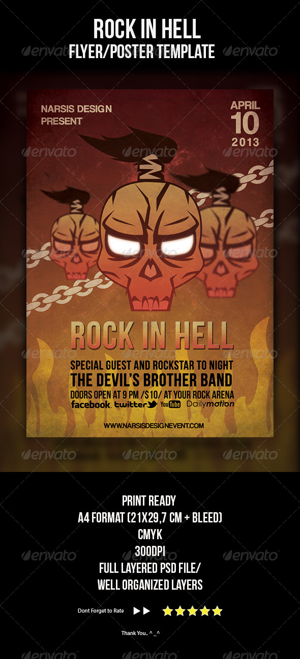 GraphicRiver Rock In Hell Flyer Template 4333141