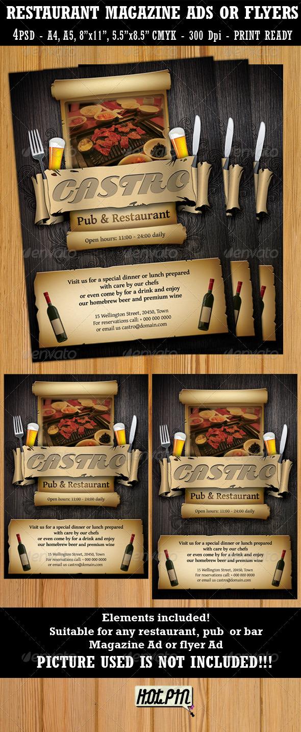 Restaurant-Bar Magazine Ads or Flyers Template - Restaurant Flyers