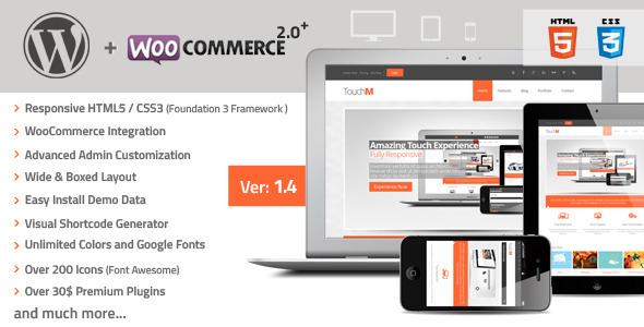 TouchM Responsive WooCommerce Premium Theme - Corporate WordPress