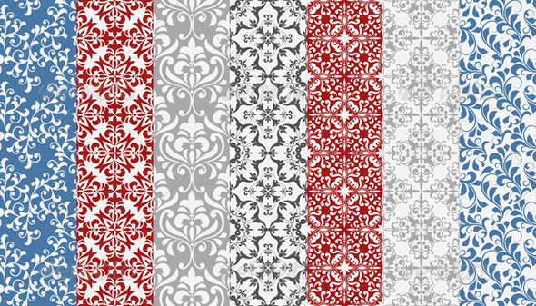 GraphicRiver Vector Seamless Floral Patterns 4436577