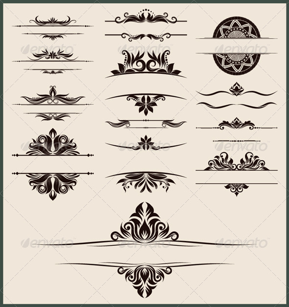 GraphicRiver Vintage Element and Border Set 4436849