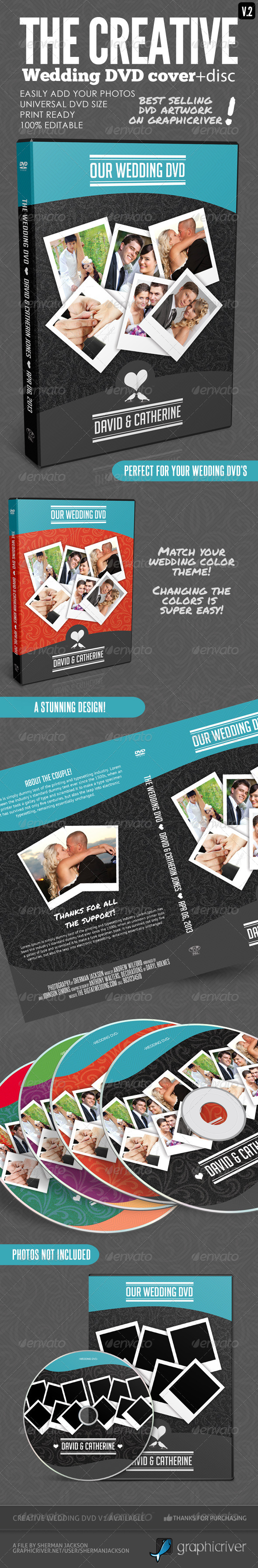 Creative Wedding DVD Covers & Disc Label V.2 - CD & DVD Artwork Print Templates