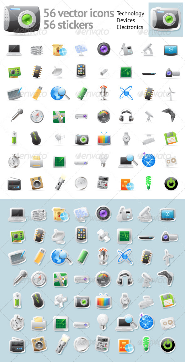 GraphicRiver Vector Icons for Technology and Electronics 4437619