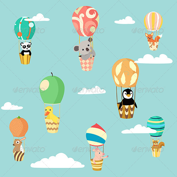 GraphicRiver Balloons Animals 4438094