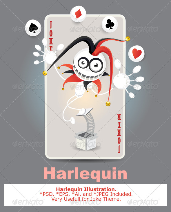 GraphicRiver Joker Harlequin Card 4438184