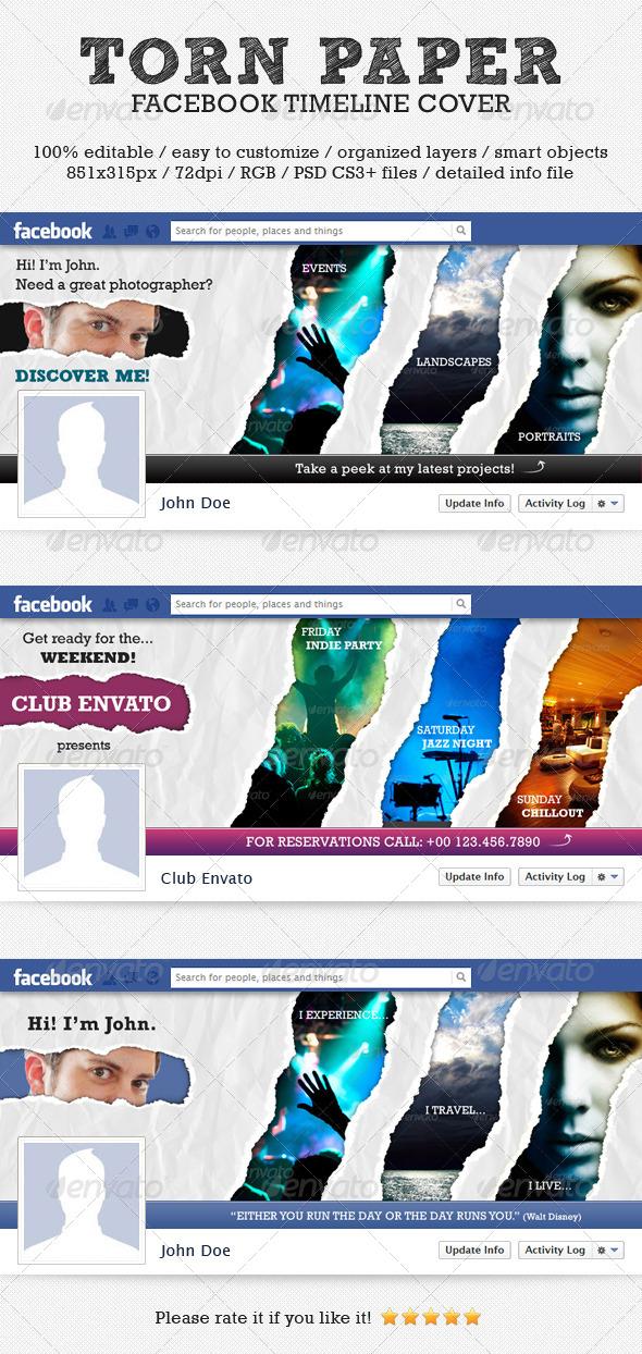 GraphicRiver Torn Paper Facebook Timeline Cover 4271816