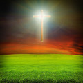 shining cross over dark sky and field - PhotoDune Item for Sale