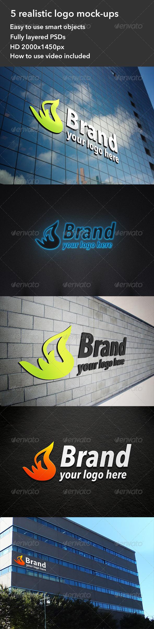 GraphicRiver 5 Realistic Interior & Exterior Logo Mockups 4438862