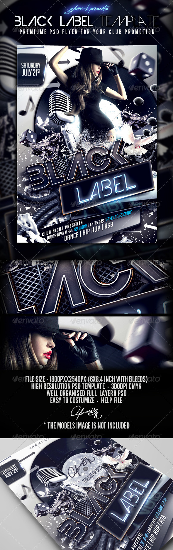 Black Label Flyer Template - Flyers Print Templates