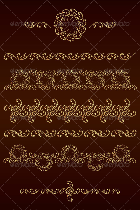 GraphicRiver Set of Vector Borders with Floral Elements 4439978
